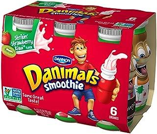 Dannon Danimals Smoothie Lowfat Dairy Drink, Strikin' Strawberry Kiwi, 3.1 Ounce Drinks (Pack of 6)