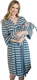 Baby Be Mine Maternity Labor Delivery Matching Robe and Swaddle Blanket and Hat Set, Hospital Bag Must Have