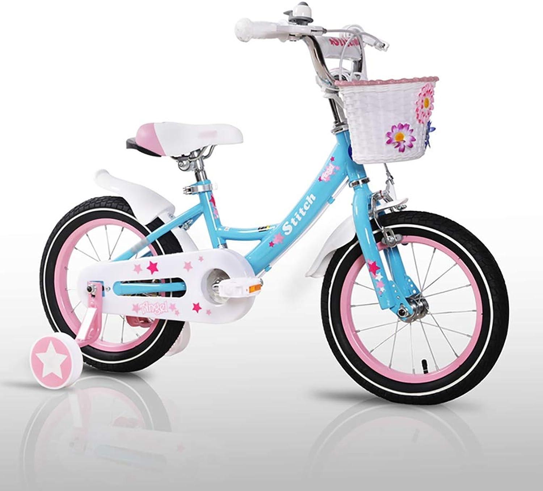 GAIQIN Langlebig Kinderfahrrad Fahrrad 2-4-5-7-8-9.5 Jahre Alter Junge und Mdchen Handbremse, Kontrolle der Sicherheit (mit Korb) (Farbe   Blau, gre   18inch)