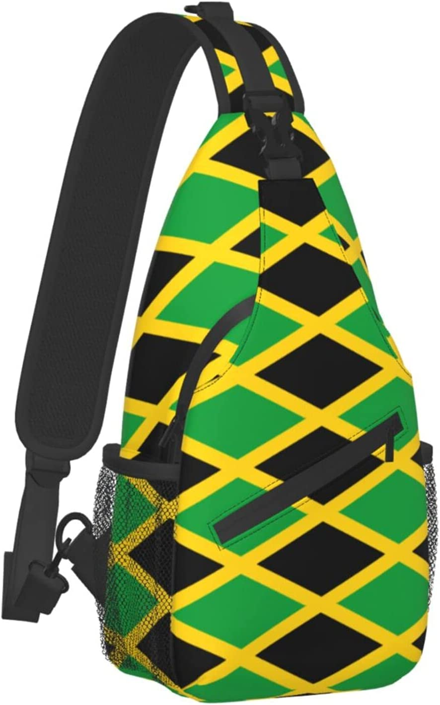 Sling Backpack Travel Hiking Daypack Dedication Jamaica Caribbean Year-end annual account Flag Rope