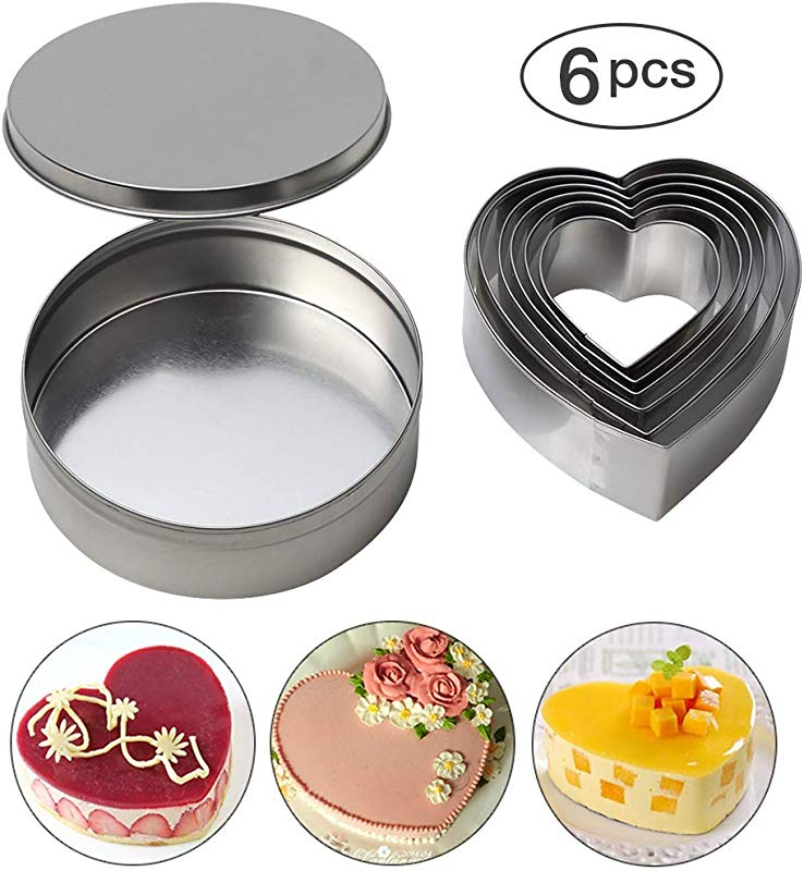 Heart Cookie Cutter Set Of 6 Heart Shaped Biscuit Cutters Stainless Steel Biscuit Pastry Cutters Baking Metal Ring Molds For Fondant Muffins Mousse And Valentine Pastry Donut