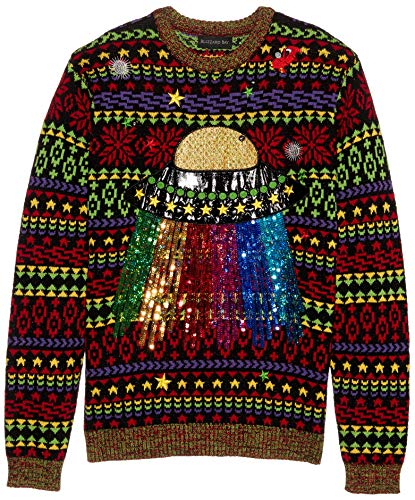 Blizzard Bay Men's Ugly Christmas Sweater Light UP, Red/Yellow, Large