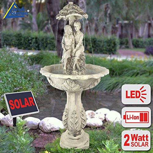 AMUR SOLAR WATER FEATURE - SOLAR GARDEN FOUNTAIN The Lovers SOLAR FOUNTAIN - WATER FEATURE WITH LED and LI-ION BATTERY SOLAR FEATURES for the garden terrace, balcony with pump-instant-start-function