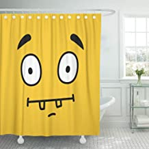 Emvency Fabric Shower Curtain with Hooks Cheerful Cartoon Face Emoticon Wink Design on Yellow Color Continuous Crazy Cute Day Extra Long 72