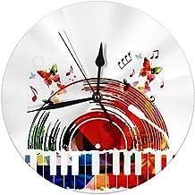 Butty Reloj de Pared Decorativo Música Colorida Colorida Disco de Vinilo y Teclado de Piano Elemants para invitación de Tarjeta Relojes Redondos Grandes