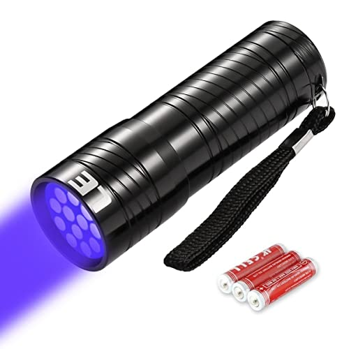 LE Lighting EVER Lampe Torche UV, 12 LED 395nm, Lampe de Poche Ultraviolet, Portable, IPX4 Résistant à Jets d'Eau, avec 3 piles AAA Fournies