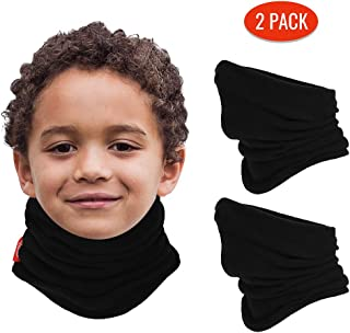 2 Pack Fleece Neck Warmer for Kids (Age 4-12), Black