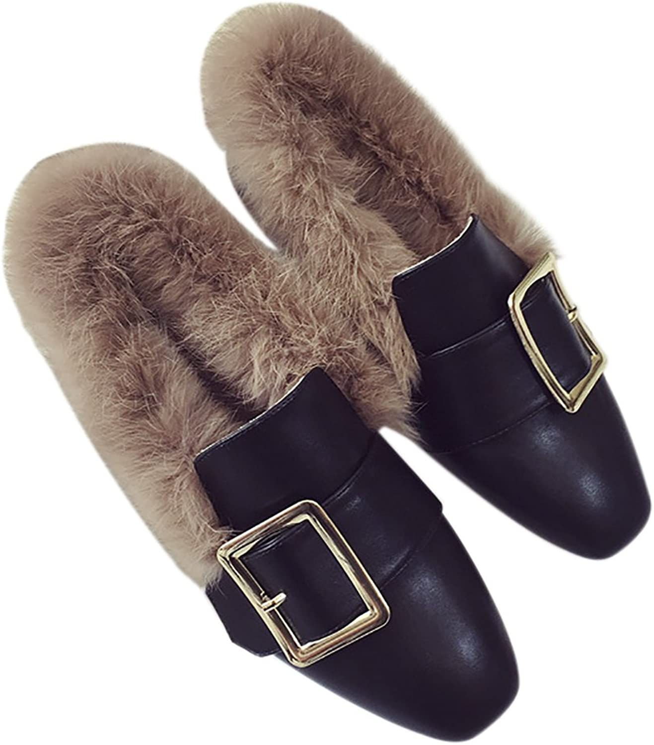 QZUnique Women Elegant Moccasin Slippers Cony Hair Linings PU Surface Flat Loafers shoes