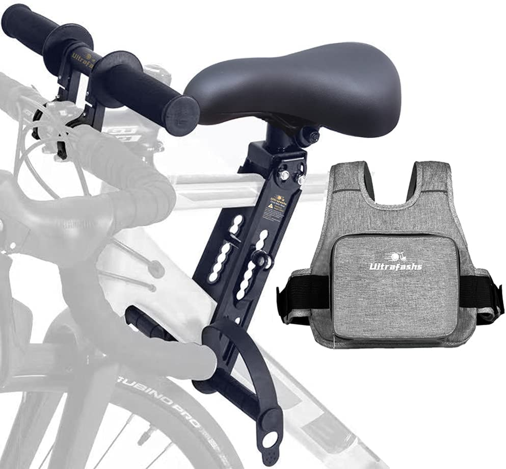 Ultrafashs Baby Bike Seat Front Mount for Kids with Safety Harness Reflective Strip,Holds Children Weighing Up to 48lbs Ideal for Children 2-5 Years Old.