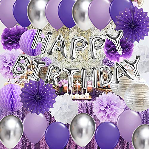Purple Silver Birthday Decorations for Women Silver Happy Birthday Balloons Purple Silver Latex Balloons Polka Dot Paper Fans/Girl Purple Birthday Decorations for Women's 30th/40th/50th/60th Birthday Party Backdrop