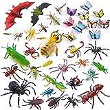 Auihiay Paquete de 36 Figuras de Insectos de plástico Grandes Surtidos de Insectos Que Incluyen una Mariposa Realista Multicolor para la educación de los niños