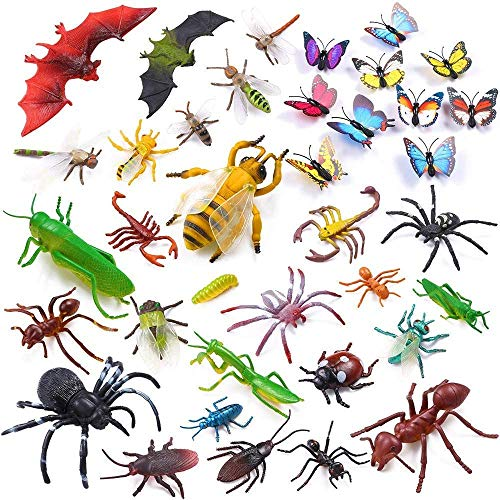 Auihiay 36 Pack Large Plastic Insect Figures Assorted Insect Bugs Includes Multicolored Lifelike Butterfly for Children Education, Insect Themed Party