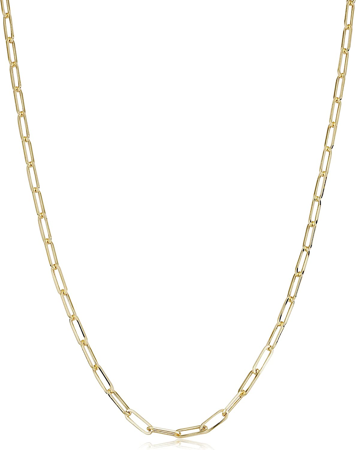 14k Yellow Gold 2.5 mm Paperclip Link Chain Necklace for Women (16, 18, 20, 24, 30 or 36 inch)
