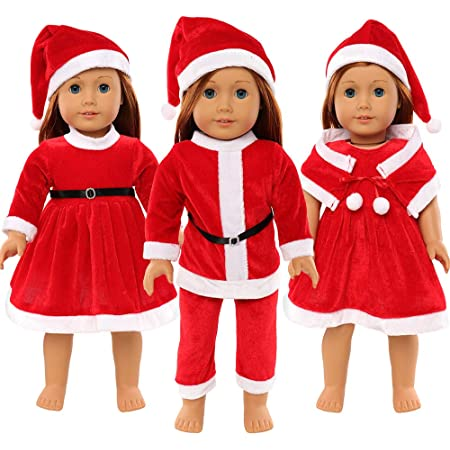 Cute Doll Clothes Santa Hat Dress Cape For 18 inch Xmas Kids Outfits HOT Q9I1
