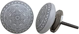 Artncraft 12 Knobs White & Grey Hand Painted Ceramic Knobs Cabinet Drawer Pull (Grey)