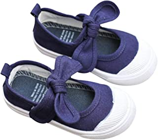 DEBAIJIA Girls School Canvas Sneakers Bowknot Flats Shoes for Toddler/Little Kid Anti-Slip Velcro Closure Toddler Shoes Suitable for 1-12 Years Girls