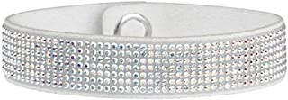 Chic Glamour Swarovski Bracelet - Crystal on Sueded Leather - Clear Crystals on White Band