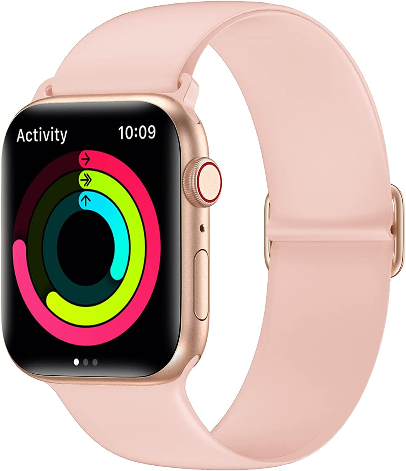 AMANECER Liquid Silicone Watch Bands Compatible with Apple Watch Series 6/5/4/3/2/1 SE, Adjustable Stretchable Sport Loop Bands for iWatch Women Men (Pink Sand, 42MM/44MM)
