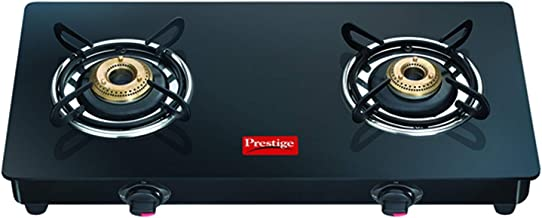 Prestige Magic LP Gas Stove g c 02 with Powder Coated Body Glass , Glass Top, 2 Brass Burner