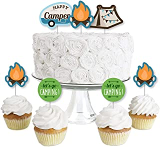 Happy Camper - Dessert Cupcake Toppers - Camping Baby Shower or Birthday Party Clear Treat Picks - Set of 24