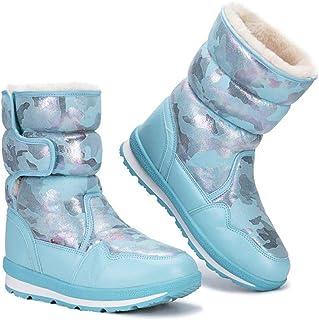 Invernali Scarpe Stivali di Pelle Calda Genitori-Figli, Stivali Cotone Disegno Velcro Stampa A Colori, Peluche Antiscivolo...