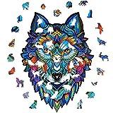 Rompecabezas de Madera, Animal Misterioso de Forma única, Adultos y niños, Ideal para la colección de Juegos Familiares, 3 tamaños (Large, Lobo)