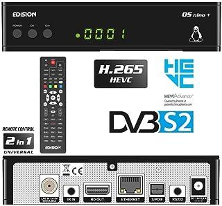 Edision OS NINO+ DVB-S2 Full HD Linux E2 Sat Ricevitore H265/HEVC (1x DVB-S2, 2X USB, HDMI, LAN, Linux, lettore di schede,...