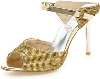 66b7d5197cb47 Aisun Women s Sexy Dress Peep Toe Slip On Stiletto High Heels Slide Sandals  Shoes with Ankle