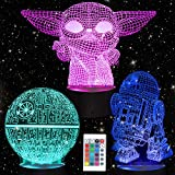 Star Wars 3D Illusion Night Light for Kids, 3 Patterns Baby Yoda LED Night Lamp and 7 Color Change Decor Lamp Perfect Birthday Gifts for Boys Girls Kids and Any Star Wars Fans