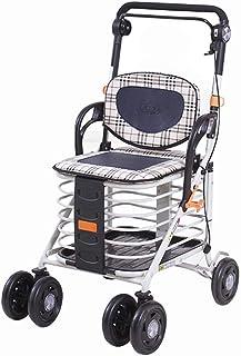 LQBDJPYS Folding 4 Wheel Shopping Trolley with Rollator Walker Adjustable Height Lightweight Push Pull Shopping Cart Bag L...