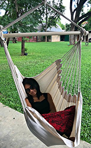 Large Brazilian Hammock Chair by Hammock Sky - Cotton Weave - Extra Long Bed - Hanging Chair for...