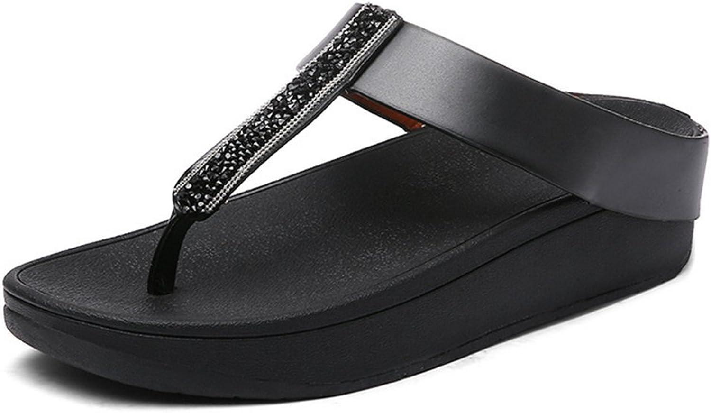 Women Flip Flops T-Bar Sandals with Metal Scrub Rhinestone Sandals Slipper,Black,39