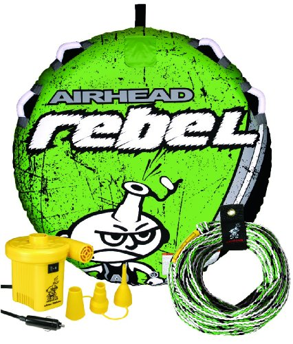 Airhead Rebel Kit | 1 Rider Towable Tube w/Rope amp Pump Multi One Size AHRE12