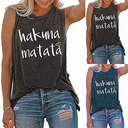 Camisola Mujer T-Shirt Simplicidad Moda Verano Cuello Redondo Mujer Tops Chic Sexy Letras Impresión Sin Mangas Diseño Diario Casual Ligero Suelto All-Match Mujer Blusa A-Grey1 M