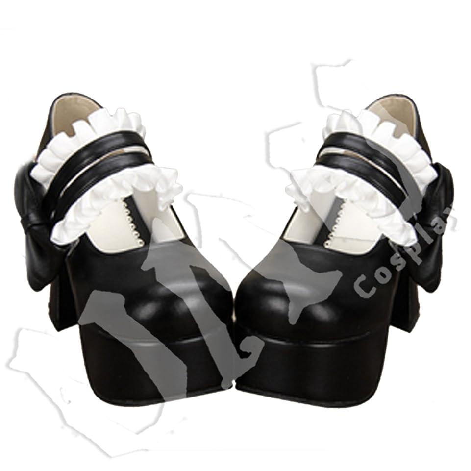 ヶ月目分類風【UMU】 LOLITA ロリータ リボン 姫 黒 シンプル 風 靴 ブーツ ブーティ オーダーメイド(ヒール高、材質、靴色は変更可能!) (足25cm)