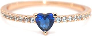 Mia II' 14K Gold-Plated (Rose/White/Yellow) Dainty Blue Heart CZ Crystal Ring