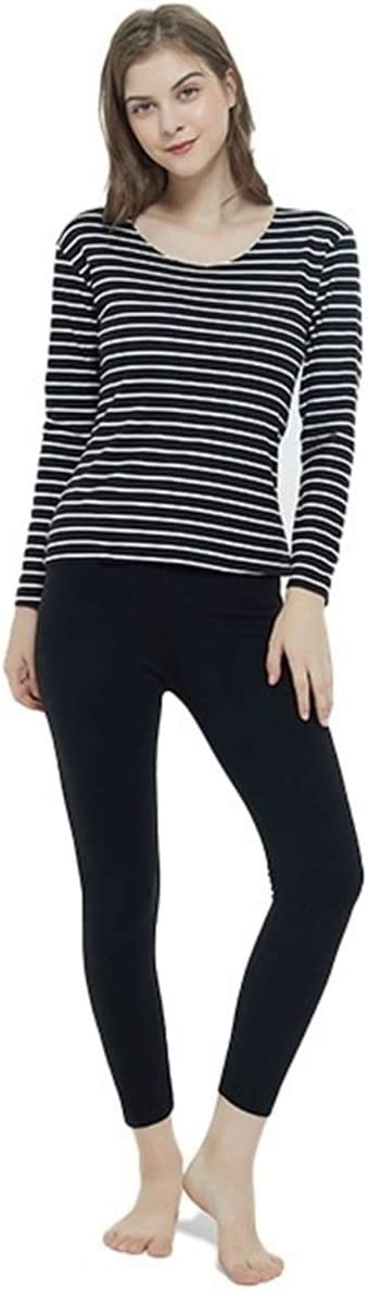 Glqwe No Trace Autumn Winter Plus Size 7XL Long Johns for Women Stripe Fever Thermal Underwear Women's Warm Sets Tops and Pants (Color : Black, Size : 5XL)