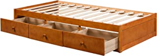 Daybed Twin with 3 Drawers,JULYFOX 500lb Heavy Duty Bed Frame No Headboard No Box Spring Need Sturdy Pine Wood Construction Space Saving Low Profile for Kids Teens Juniors Single Adults-Oak