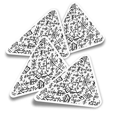 Pegatinas triangulares de vinilo (juego de 4) – Calcomanías divertidas de símbolos vikingos islandeses para portátiles, tabletas, equipaje, reserva de chatarra, nevera #2507