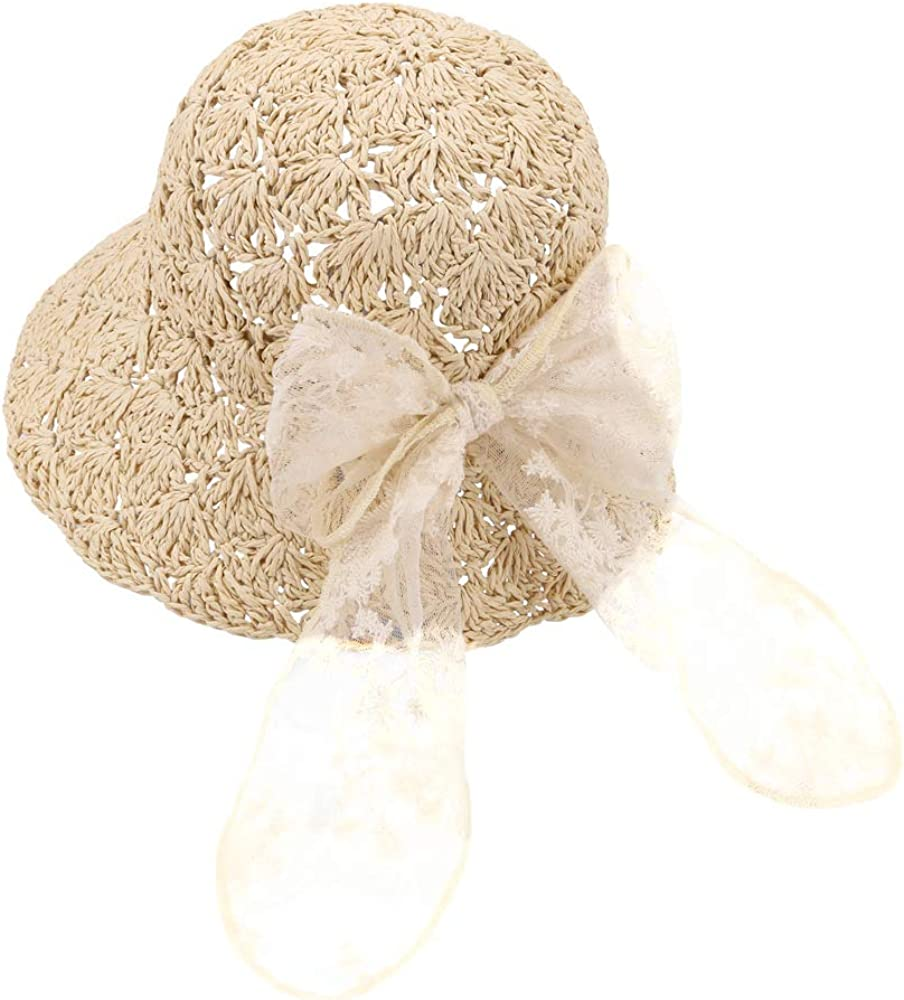 Baby Same day shipping Toddler Finally resale start Kids Girls Straw Sun Bowknot Hat Beach Floppy with