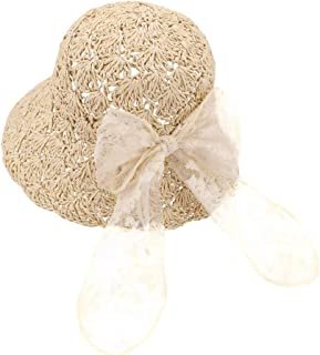 Baby Toddler Kids Girls Straw Sun Hat with Bowknot Floppy Beach Summer Protection Hats