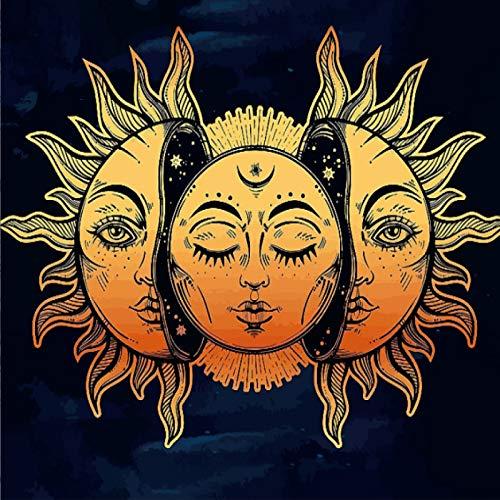 CNYG Moon Sun Tarot Series Tapiz Hippie Decoración para el hogar Tapiz Manta de Pared 3 150 * 130CM