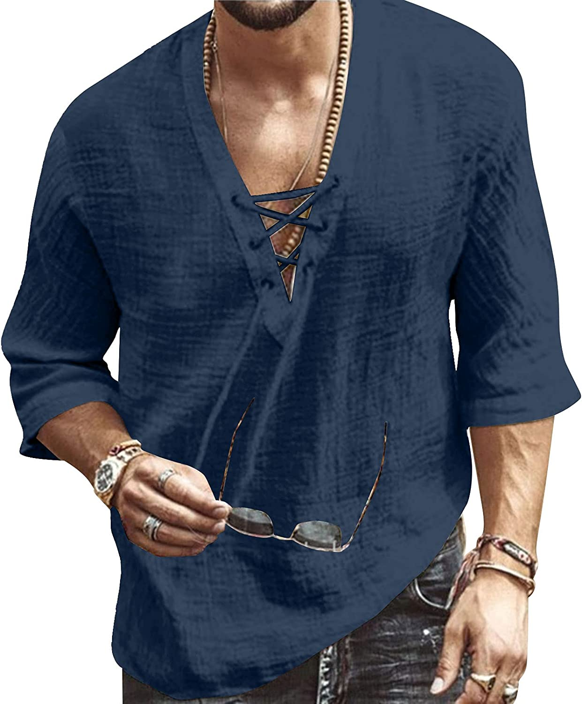 Men's Fashion Shirt Short Sleeve Beach V-Neck Drawstring Printing Yoga African Summer Top