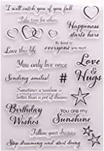 LZBRDY Heart Stars Love Hug Birthday Wishes Happiness Words Clear Stamps for Card Making and Scrapbooking