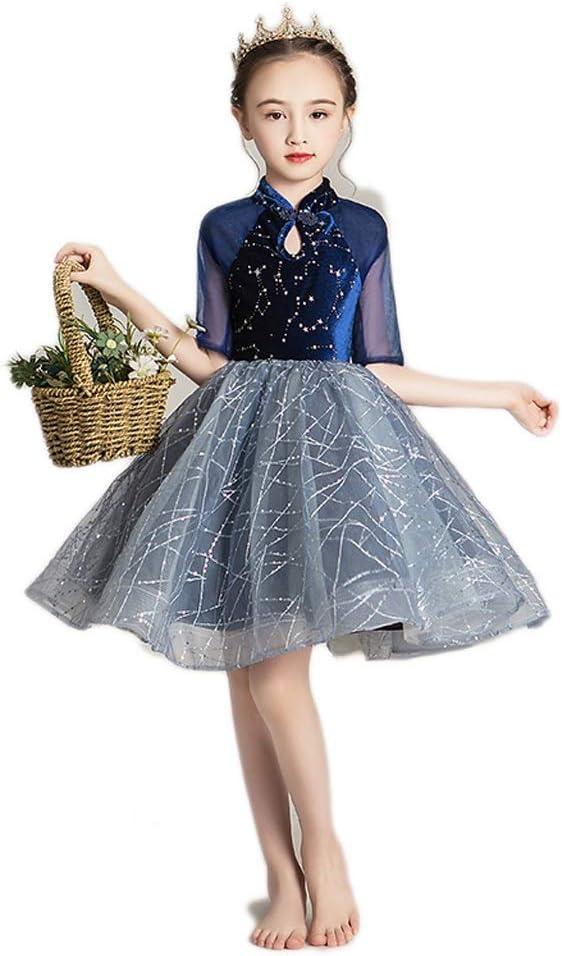 TONG Girls Host Catwalk Princess Dress Little Girl Style Long Sleeve Fluffy Evening Dress Kids Clothing Soft (Color : Blue, Size : 140cm)
