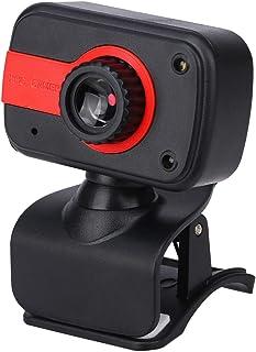 Solustre Cámara de Clip de Alta definición Cámara de Video Digital Cámara Web V3 con micrófono para computadora portátil de Escritorio (Negro Rojo)