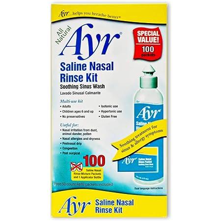 Ayr Saline Nasal Rinse Kit Soothing Sinus Wash, 100-Count Saline Nasal Rinse Mixture Packets Plus Applicator Bottle (Pack of 2), 202 Piece Set