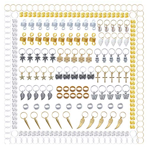 300 Pieces Hair Cuffs 20 Styles Aluminum Dreadlocks Beads Metal Hair Braid Rings Pendant Charms Hair Clips Hair Jewelry for Hair Accessories by fani
