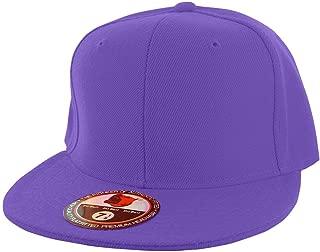 Plain Colors Flat Bill Visor Fitted Hat Baseball Cap (25+ Colors 9 Sizes)