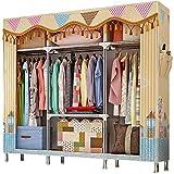 ZZBIQS Armario de tela extragrande con compartimentos y 2 bolsillos laterales, armario de camping con barra para ropa, vestidor, dormitorio (ciudad soleada)